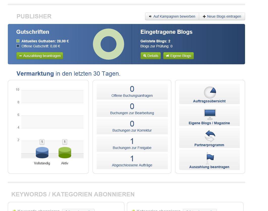 Meine Einnahmen bei Rankseller (Bild: screenshot rankseller)