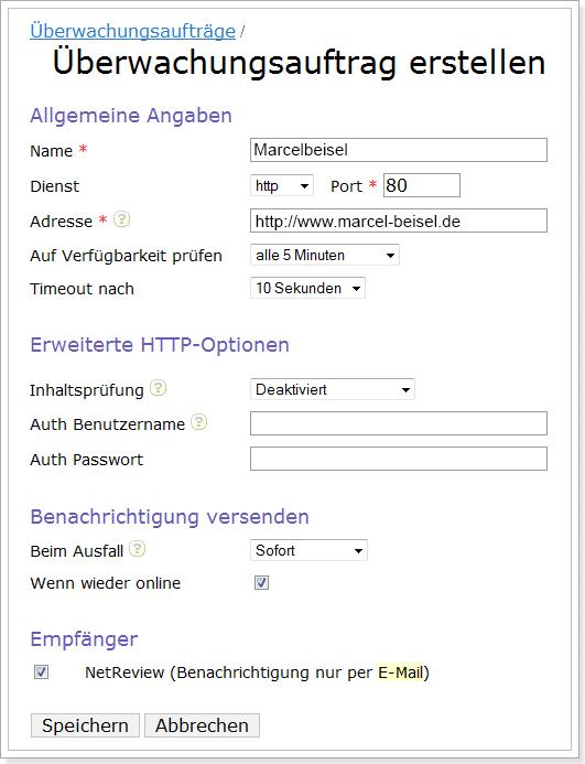 Einrichtung Servermonitoring